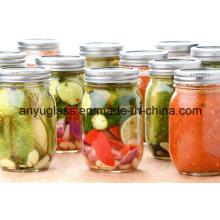 16oz garrafa de vidro para picles e frascos de armazenamento de alimentos