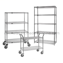 Chrome Steel Wire Shelving Cart with Wire Shelf