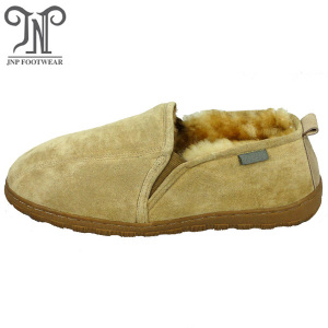 Men's comfortable indoor sheepskin fuzzy slippers