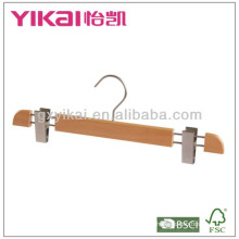 High grade wooden skirt hanger with 2clips