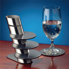 stainless steel coaster with holder set/6