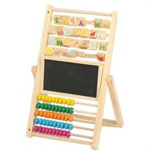 Niños de buena calidad personalizados estudiando herramientas de color ábaco y tablero de dibujo