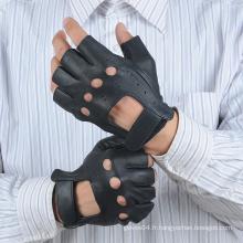 Gants homme sans doigts en cuir avec trou de nouage et fermeture velcro