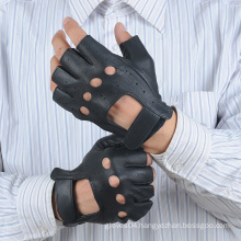 mens leather fingerless gloves with knuckle hole and velcro closure