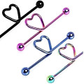 Titanium Anodized Heart Industrial Barbell