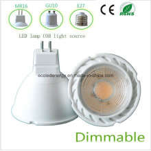 Dimmbale 5W MR16 branco COB luz LED
