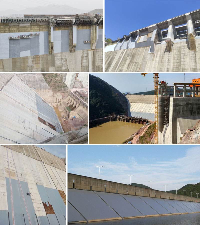 Concrete dam waterproofing coating material