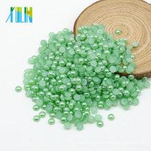 Haute qualité plat rond coloré Abs demi-vrac Faux perles pour Diy Z14 Aquamarine vert