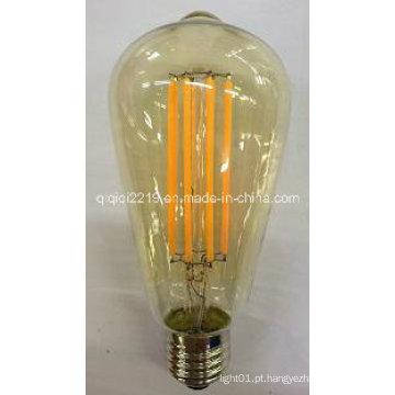 Luz do dim do dimetro da tampa St64 E27 220V do ouro 6W com CE RoHS