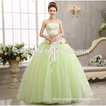 Latest Design Bride Gorgeous Light Green Appliqued Strapless Floor Length Tulle Puffy Ball Gown Light Green Wedding Dress