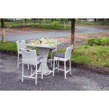 Mesa y silla de mimbre de la barra del ocio de la rota del jardín al aire libre