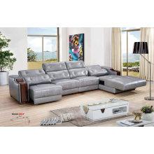 Reclinable, sofá de cuero de aire, muebles para el hogar L forma sofá (666)