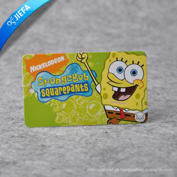 Etiqueta de papel personalizada fofa / etiqueta de logotipo da marca Spongebob para roupas infantis