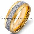 Natürlicher eingelegter silberner Kohlenstoff-Faser-Wolfram-Schmucksache-Ring