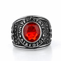 Collectable red gemstone stainless steel eagle ring