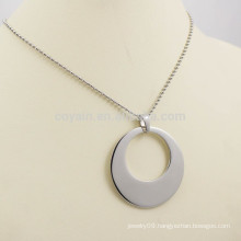 Hot Sale Unisex Simple Hollow Out Silver Metal Round Charms Necklace