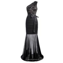 Kate Kasin Sexy mujeres un hombro sirena silueta negro vestido de fiesta de encaje largo baile KK001057-1