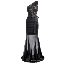 Kate Kasin Sexy Women One Shoulder Mermaid silhouette Black Lace Long Prom Party Dress KK001057-1
