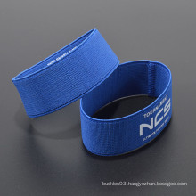 Cheap custom logo 100% polyester elastic wristband