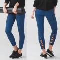 Ladies Fitness Yoga Pants Leggings Esportes com Lattice na canela