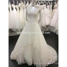 Alibaba 2016 Unique Dress Cap Sleeve Boat Neck Sequined Lace Hemline Floor-length Bling Ball Gown Wedding Dress A087