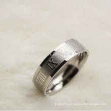 Venta al por mayor baratos dos hombres de tono de acero inoxidable de números romanos anillo