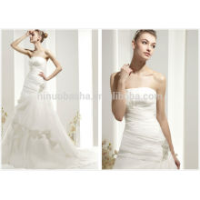 2014 Top Quality Strapless Sweep Train Pleated Tiered Organza Garden Wedding Dress With Crystal Accent A-Line Bridal Gown NB0438