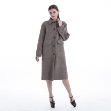 Large pocket herringbone cashmere coat