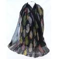 Oversize leaf pattern plain voile stole muslim hijab shawl scarf wholesale china