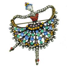 Cómo Venta Colorido Rhinestone Ballet Dancer Brooch para Mujeres