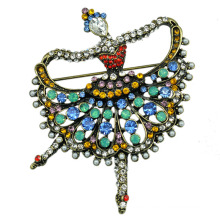 How Sale Colorful Rhinestone Ballet Dancer Brooch for Women