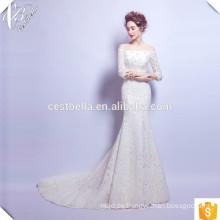 2016 sirena vestidos de novia mangas largas encaje bordado blanco sexy vestidos de novia con cola larga