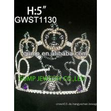 Feiertag Kürbis Geist Spinne Silber Beschichtung benutzerdefinierte Rhinestone Tiara Krone -GWST1130