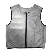 Silver reflective sports safety vest for outdoor activity