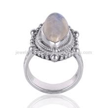 Latest Design 2017 Rainbow Moonstone 925 Silver Ethnic Design Ring