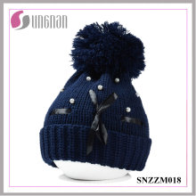 2015 Winter Korean Elegant Pearl Bow Fur Ball Wool Cap (SNZZM018)
