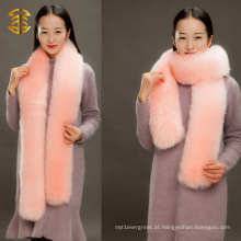Genuine Fox Stole Lady Fashion Warm Fox Scarf cachecol de malha comprida