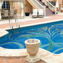 Mosaïque en verre bleu pour carrelage de piscine
