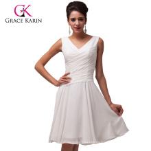 Grace Karin señoras sin mangas de gasa blanco de la boda vestido de dama de honor patrones CL6059