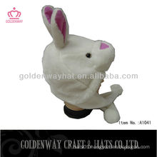 Rabbit style girls hat with ear flaps and pom