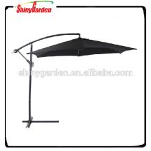 Sombrilla al aire libre del patio de las costillas de acero 10ft 6, paraguas voladizo, paraguas colgante 6ribs de acero