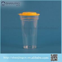 выдвиженческое высокое качество низкая цена 16 унций чашка пластмассы PP, с плоской крышкой