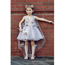 rose flower fancy wedding dress design kids for muslim girls ED671