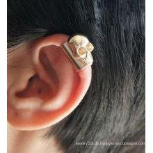 Schädel-Kopf-Ohr-Stulpe-einzelne Ohrclip-Ohrring-Schmucksache-Stulpe-Ohrringe EC40