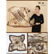 SA429 100% silk logo print silk scarf 100% silk hijab shawl and scarvessupplier alibaba china