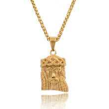 De Calidad superior Golden Jesus Head Jesus Face Colgante Collares de Hip Hop Rapper Dance Jewelry