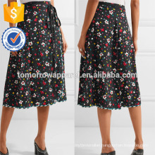 New Fashion Black Floral Print Silk Midi Summer Daily Skirt DEM/DOM Manufacture Wholesale Fashion Women Apparel (TA5091S)