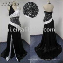 PP2455 blanco y negro halter cuello vestido de noche hijab patrones