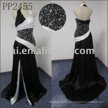 PP2455 preto e branco halter pescoço vestido de noite padrões de hijab