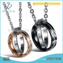 Banhado a ouro rosa e anéis de amante preto e colar de pingente de design
